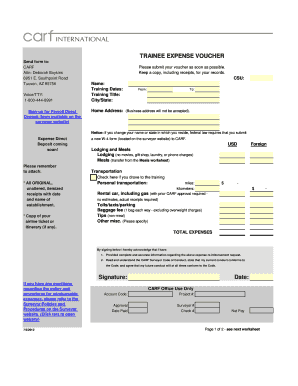 Expense Voucher Template - auto calculating Excel form - Carf