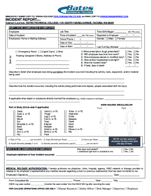 Employee Incident Report Form - Bates Technical College - Ctc.edu - bates ctc