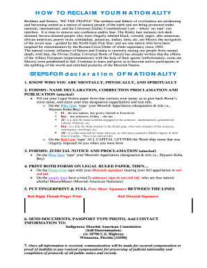 How To Claim My Moorish Nationality - Fill Online, Printable
