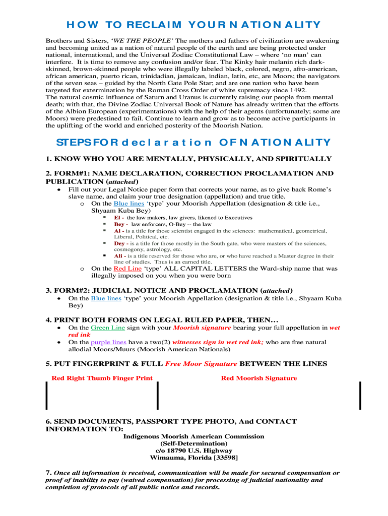 Declaration Nationality - Fill Online, Printable, Fillable
