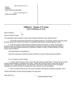 Fillable Online Affidavit - Death of Trustee - JurisDocuments Fax ...