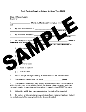 small estte affidavit for massachuesetts form pdf