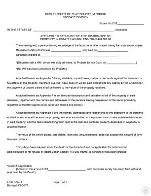 Fillable affidavit of death form missouri - Edit Online
