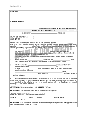 Bill Of Sale Form Oklahoma Affidavit Of Heirship Form Templates ...