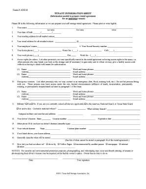 Fillable Online Form Add 8 Tenant Information Sheet Propertyware