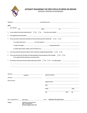 diocese of richmond affidavit of status form