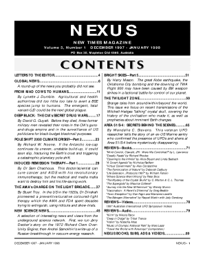 NEXUS NEW TIMES MAGAZINE Volume 5, Number 1 DECEMBER 1997 - JANUARY 1998 PO Box 30, Mapleton Qld 4560, Australia LETTERS TO THE EDITOR