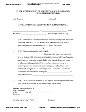 General affidavit form templates fillable printable for Holographic will template