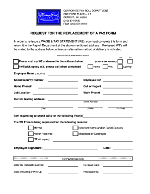 w2 form replacement  Fillable Online W-11 Replacement Request Form ...