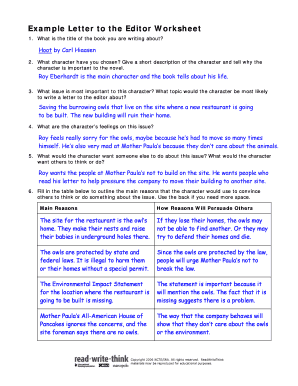 Example Letter to the Editor Worksheet Fill Online, Printable ...