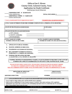 cameron county death certificate by social security