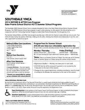 Fillable Online ymcatwincities SOUTHDALE YMCA Eden Prairie