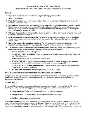 Fillable Online Instructions For CBP Form 3299 Declaration for ...
