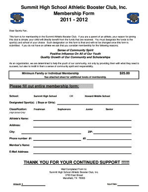 Mansfield Summit Athletic Booster Club Membership Form  Club Membership Form Template Word