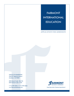 FAIRMONT INTERNATIONAL EDUCATION Application For Admission