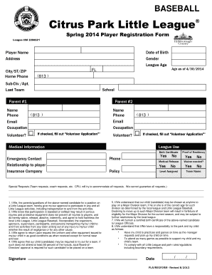Fillable Online citrusparkll Baseball Registration Form - Citrus ...