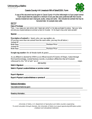 Cassia County 4-H Livestock Bill of Sale/COOL Form - University of ...