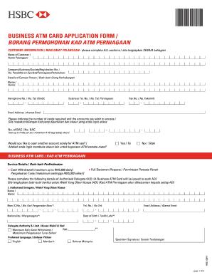 Fillable Online hsbc com BUSINESS ATM CARD APPLICATION FORM-eng