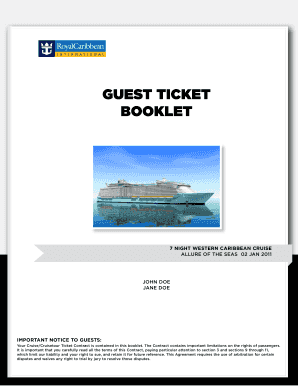 Royal Caribbean Guest Ticket Booklet - Fill Online