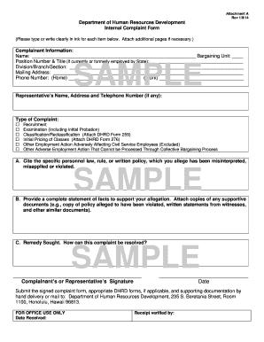 human resources complaint form