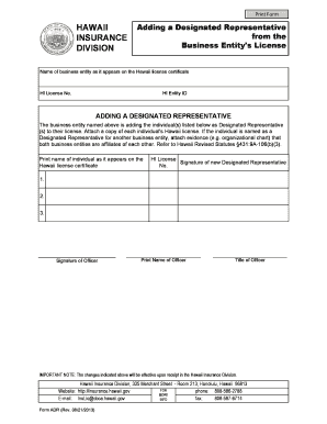 Adding/Removing a Designated REpresentative from the Business Entity's License. Difficulties with Releasing Broker on Change Form memo