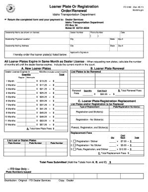 Idaho Loaner Plate Or Registration Order Renewal Itd
