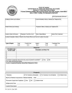 Fillable Online WC-2 TEST FORM, PHYSICIAN S REPORT - hawaii.gov ...