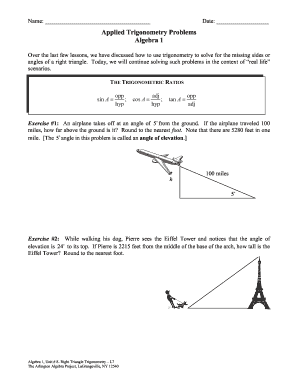 Applied Trigonometry Problems Algebra 1 - rcsdk12