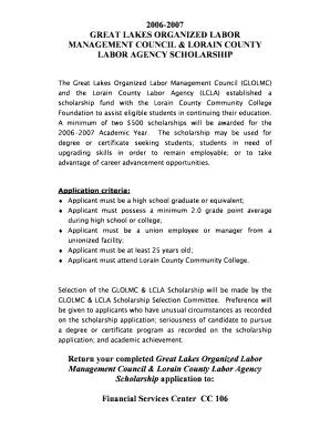 Fillable Online lorainccc SME Scholarship - Lorain County Community