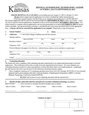 ksbha Fillable Online ksbha Renewal Application - Kansas State Board of ...