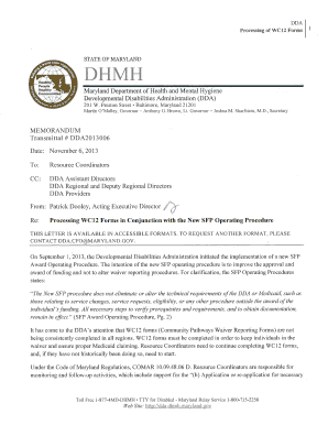 WC12 Form Memo - DDA - dda dhmh maryland