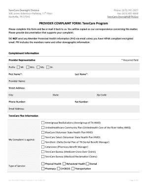 Tenn Care Greivance Dept Email - Fill Online, Printable, Fillable ...