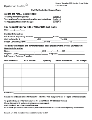 Fillable Online DME Authorization Request Form Medical Care ...