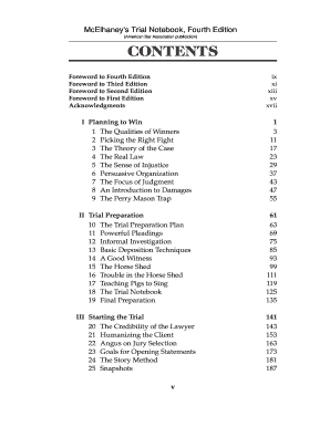 Fillable Online cobar Table of Contents for \