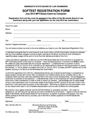 Fillable Online ExamSoft Registration Form - Minnesota State