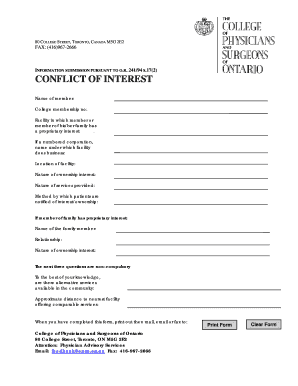 conflict of interest declaration template - fillable online conflict of interest declaration form