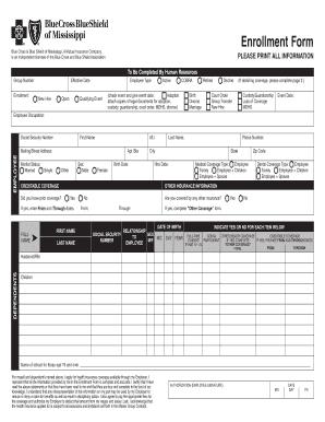 Fillable Online Blue Cross Blue Shield of MS Enrollment Form ...