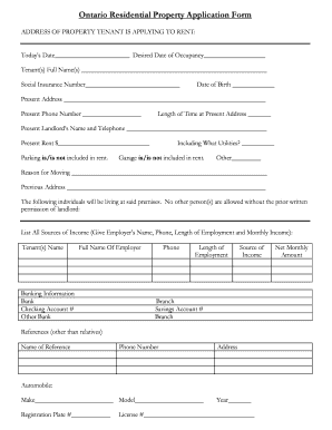 Ontario Residential Application Fill Online Printable Fillable