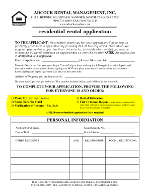 Residential rental application - Adcock Rental Management