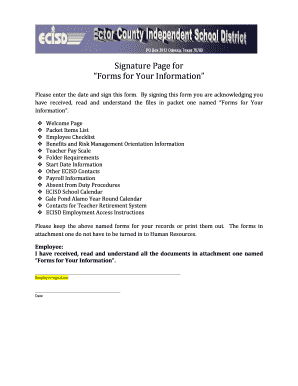 New Hire Forms - Ector County Independent School District - ectorcountyisd