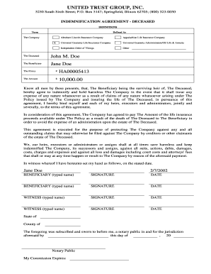 Indemnification agreement forms and templates fillable printable indemnification agreement sample form utg platinumwayz