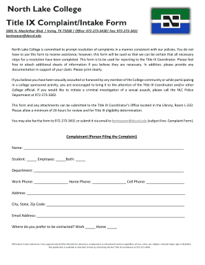 Fillable Online northlakecollege The Title IX complaint form ...