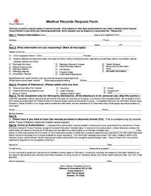 This form is used to request copies of medical records - texaschildrens