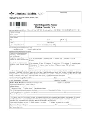 Patient Request to Access Medical Records Form - MRO Corp.