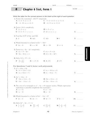 Fillable Online Chapter 8 Test, Form 1 - Edmond Public Schools Fax ...