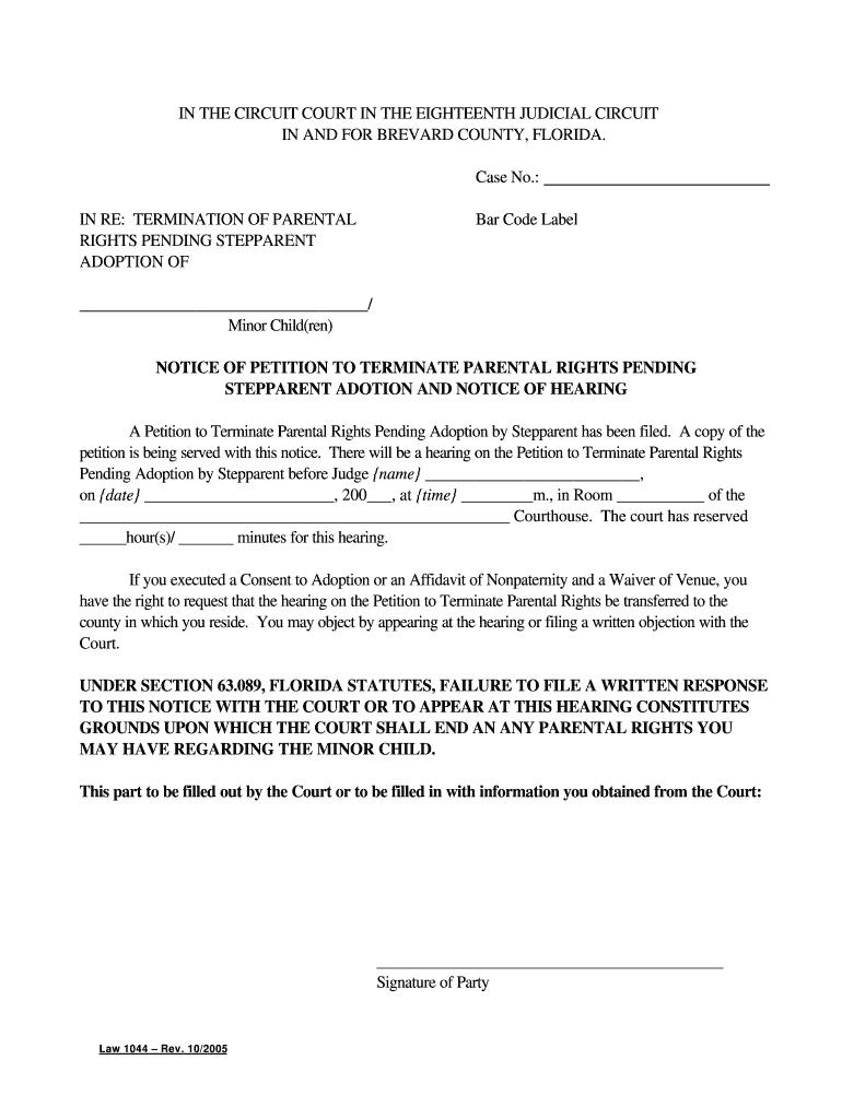 Affidavit Of Voluntary Relinquishment Of Parental Rights