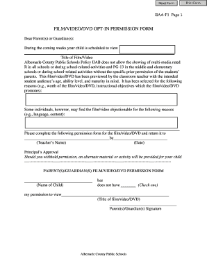 Film/video/dvd opt-in permission form - Albemarle County Public ...