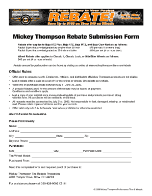 Fillable online mickey thompson rebate submission form quadratec fax email print pdffiller - Fax caser bajas ...