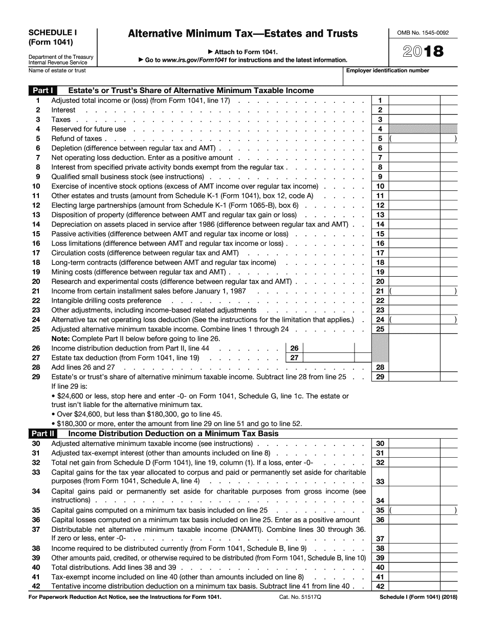 Form 1041 (Schedule I)