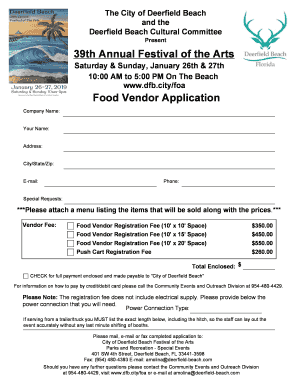 Fillable Online 39th Annual Festival Of The Arts Food Vendor Application Fax Email Print Pdffiller
